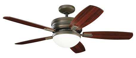 "Carlson Collection 52"" Oiled Bronze Ceiling Fan with Reversible Cherry/Mahogany Blades 300138OLZ"