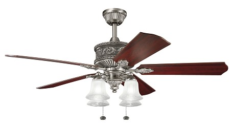 Antique Pewter With Light Cherry / Dark Cherry Corinth 52in. Indoor Ceiling Fan with 5 Blades - Includes Light Kit and 6in. Downrod