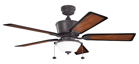 Kichler Three Light Distressed Black Ceiling Fan - 300162DBK