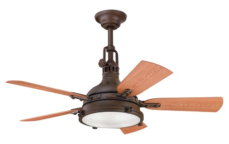"Hatteras Bay Patio Collection 44"" Tannery Bronze Ceiling Fan with Reversible Walnut/Cherry Blades 310101TZP"