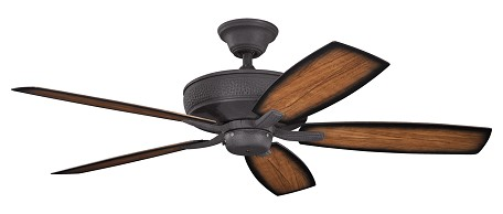 Distressed Black Monarch II Patio 52in. Outdoor Ceiling Fan with 5 Blades - Includes Cool-Touch Remote, 4in. Downrod