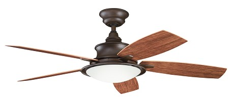 Tannery Bronze Powder Coat W/ Walnut/cherry Blades Cameron 52in. Indoor Ceiling Fan with 5 Blades - Includes Cool-Touch Remote, Light Kit and 4in. Downrod