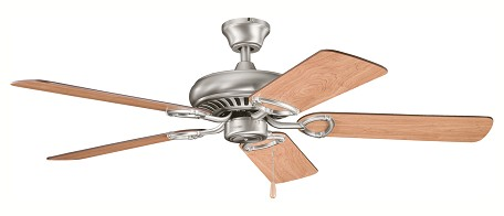 "Sutter Place Collection 52"" Antique Pewter Ceiling Fan with Reversible Light Cherry/Dark Cherry Blades 339011AP"