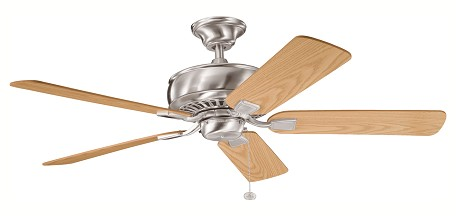 "Saxon Collection 52"" Brushed Stainless Steel Ceiling Fan with Reversible Light Oak/Medium Oak Blades 339012BSS"