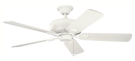 "Saxon Collection 52"" Satin Natural White Ceiling Fan with Satin Natural White Blades 339012SNW"