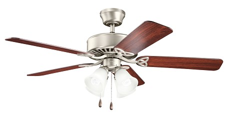 Brushed Stainless Steel Renew 50in. Energy Star Indoor Ceiling Fan with 5 Blades - Includes Light Kit and 4in. Downrod