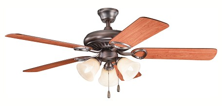 "Sutter Place Premier Collection 52"" Oil Brushed Bronze Ceiling Fan with Reversible Walnut/Cherry Blades 339400OBB"