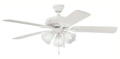 "Sutter Place Premier Collection 52"" Satin Natural White Ceiling Fan with Satin Natural White Blades 339400SNW"