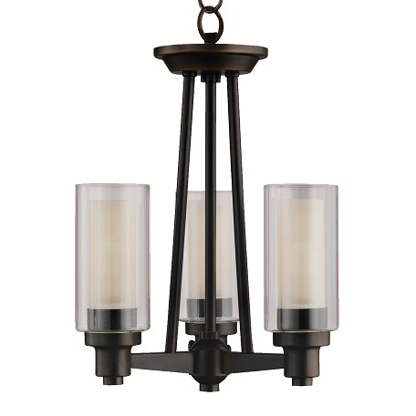 "Circolo Collection 3-Light 17"" Olde Bronze Semi-Flush Mount with Umber Etched Glass 3743OZ"