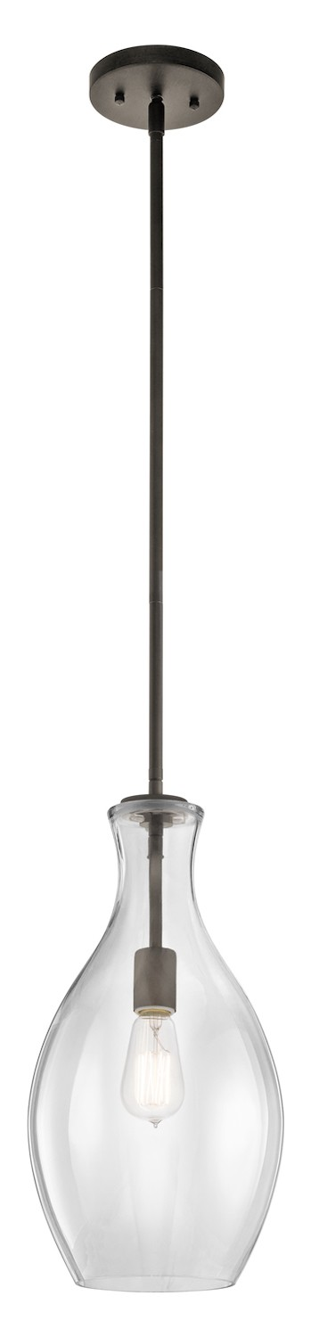 "Everly Collection 1-Light 18"" Olde Bronze Pendant with Clear Glass 42047OZ"