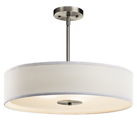 Brushed Nickel 3-Bulb Indoor Pendant or Semi-Flush Light with Drum-Shaped Fabric Shade
