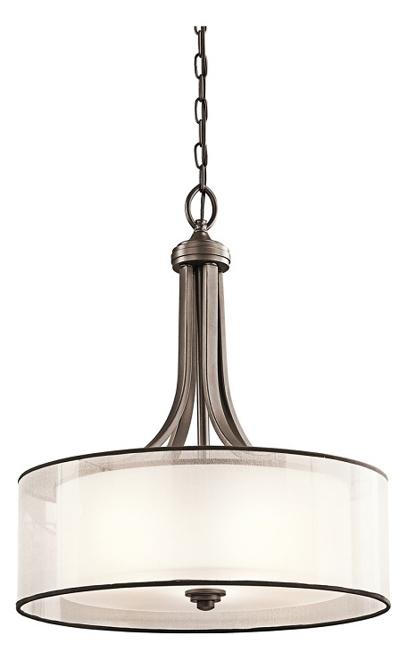 "Lacey Collection 3-Light 20"" Mission Bronze Pendant with Organza Drum Shade 42385MIZ"