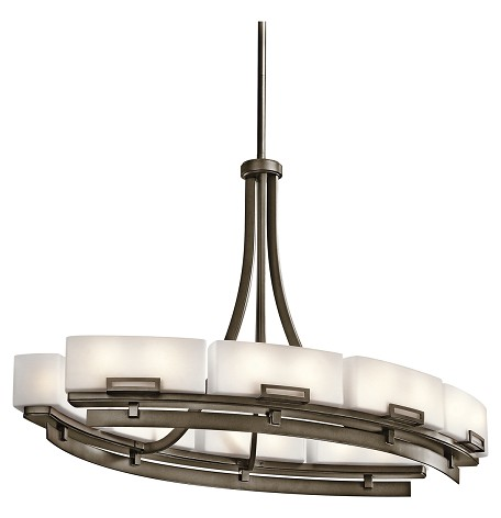 Shadow Bronze Leeds Single-Tier Linear Chandelier with 16 Lights - Stem Included - 36 Inches Wide