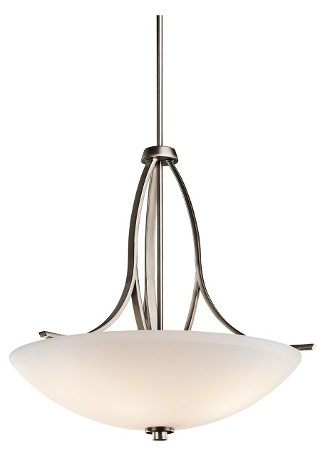 Brushed Pewter Granby 3-Bulb Indoor Pendant with Bowl-Shaped Glass Shade
