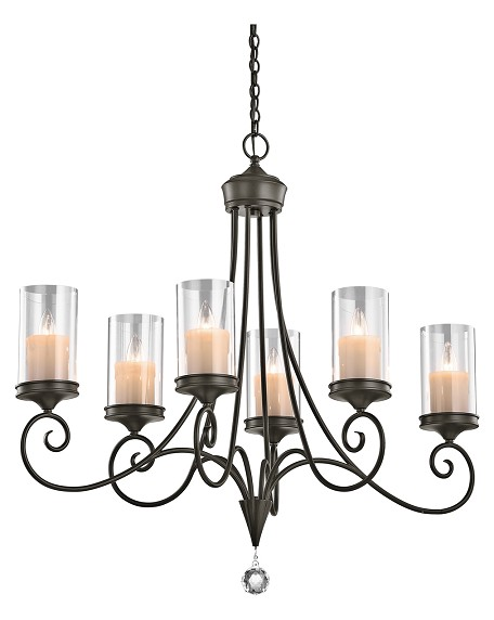 Kichler Six Light Shadow Bronze Up Chandelier - 42862SWZ
