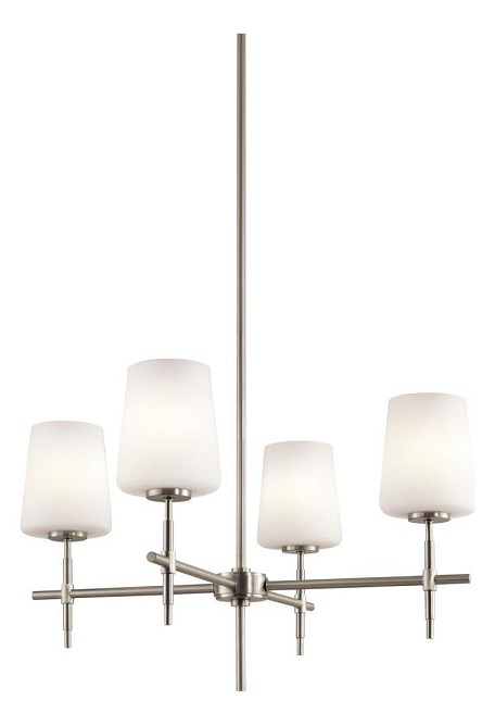 Brushed Nickel Arvella Single-Tier  Chandelier with 4 Lights - Stem Included - 25 Inches Wide