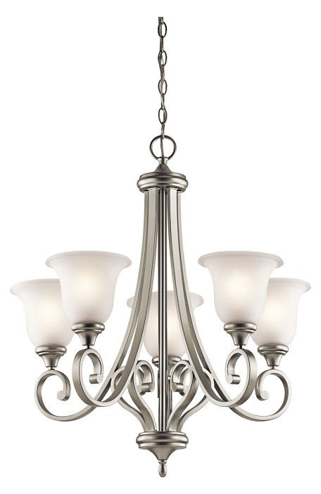 Brushed Nickel Monroe 5 Light 28in. Wide Chandelier with Etched Glass Shades