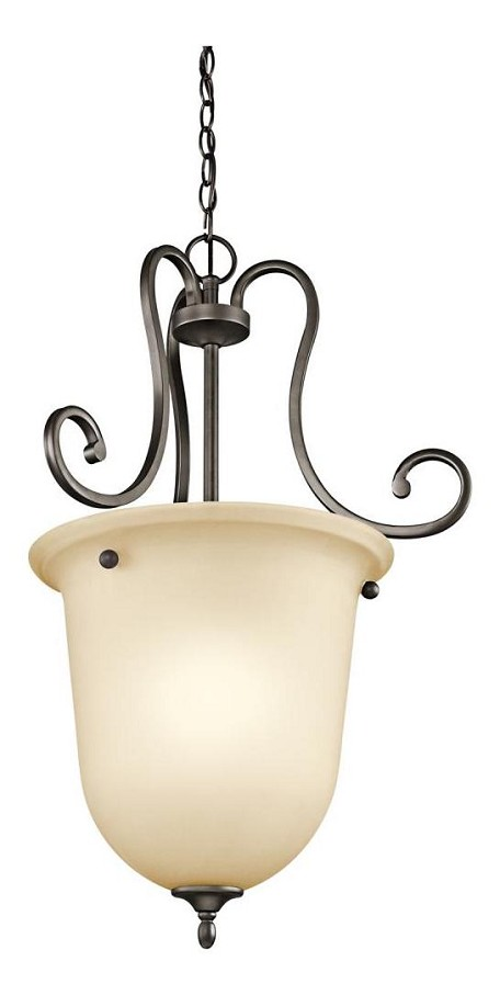 Olde Bronze Feville Single-Bulb Indoor Pendant with Urn-Style Glass Shade