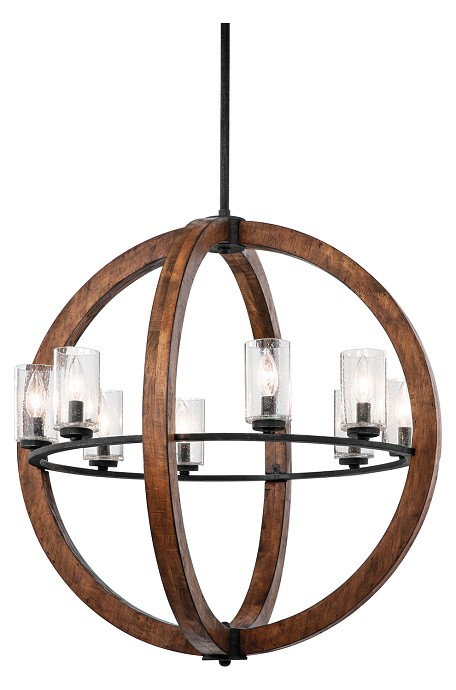 Auburn Grand Bank 8 Light 28in. Wide Chandelier with Seedy Glass Shades