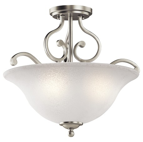Brushed Nickel Camerena 3 Light 18in. Wide Semi-Flush Ceiling Fixture with Scavo Glass Bowl Shade