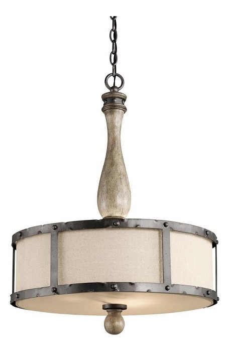 Kichler Three Light Distressed Antique Gray Drum Shade Pendant - 43323DAG