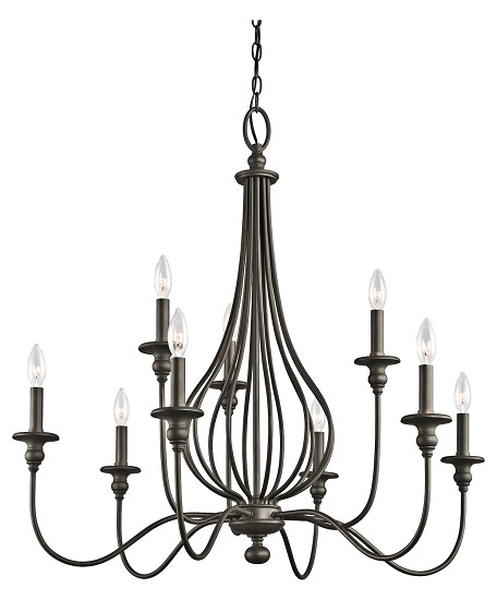 Olde Bronze Kensington 2-Tier Candle-Style Chandelier with 5 Lights - 72in. Chain Included - 34 Inches Wide