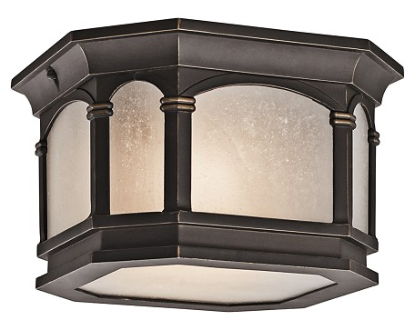 "Nob Hill Collection 2-Light 10"" Rubbed Bronze Outdoor Ceiling Light with Etched Seedy Glass 49035RZ"