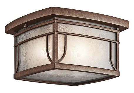Aged Bronze With Vetro Mica Glass 2 Light Outdoor Ceiling Fixture from the Soria Collection