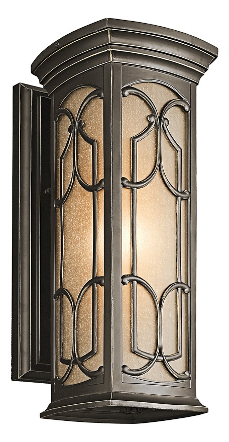 Olde Bronze Franceasi Single Light 18in. Tall Outdoor Wall Sconce with Patterned Metal Frame