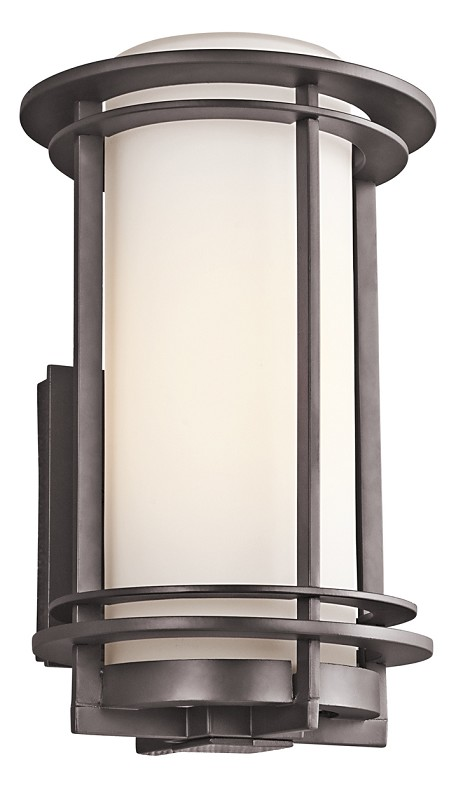 Architectural Bronze Pacific Edge Single Light 13in. Tall Outdoor Wall Sconce with Cylindrical Glass Shade