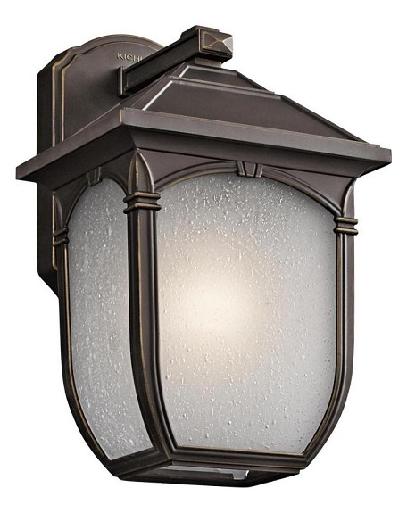 "Lakeway Collection 1-Light 11"" Rubbed Bronze Outdoor Wall Lantern with Etched Seedy Glass 49429RZ"