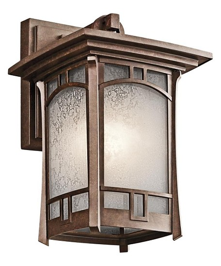 "Soria Collection 1-Light 11"" Aged Bronze Outdoor Wall Lantern with Vetro Mica Glass 49450AGZ"