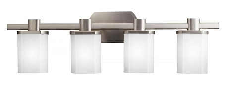 Brushed Nickel Lege 30.5in. Wide 4-Bulb Bathroom Lighting Fixture