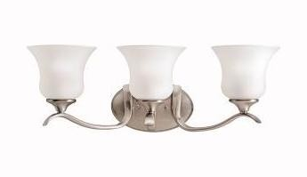 Brushed Nickel Wedgeport 3 Light 24in. Wide Vanity Light Bathroom Fixture with Etched Glass Shades