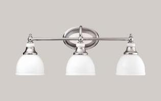 Chrome Pocelona 24in. Wide 3-Bulb Bathroom Lighting Fixture