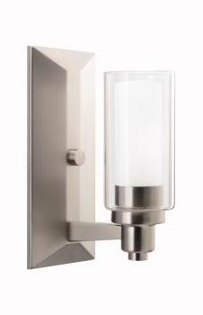 Brushed Nickel One Light Up Lighting Wall Sconce from the Circolo Collection