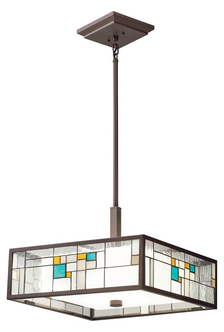 Olde Bronze Caywood 4-Bulb Indoor Pendant with Rectangular Glass Shade