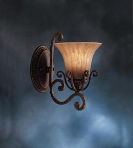 "Cottage Grove Collection 1-Light 11"" Carre Bronze Wall Sconce with Mocha Wisp Glass 6857CZ"