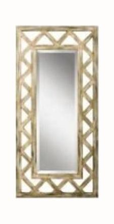 Antique Silver Lattice Rectangular Mirror - 50in. x 24in.