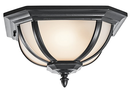 "Ralston Collection 2-Light 13"" Black Outdoor Flush Mount with White Linen Glass 9848BK"