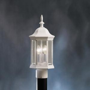 Kichler Three Light White Post Light - 9977WH