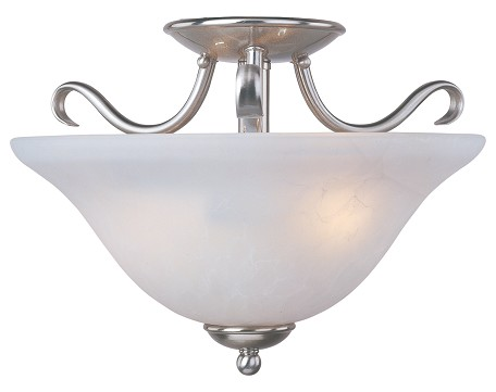 "Basix Collection 2-Light 14"" Satin Nickel Semi-Flush Mount with Ice Glass 10120ICSN"