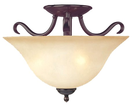 "Basix Collection 2-Light 14"" Oil Rubbed Bronze Semi-Flush Mount with Wilshire Glass 10120WSOI"
