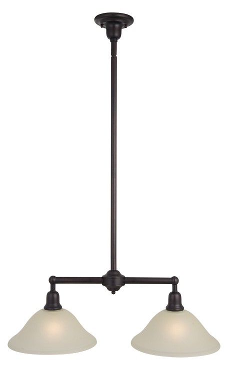 "Bel Air Collection 2-Light 48"" Oil Rubbed Bronze Pendant with Soft Vanilla Glass 11092SVOI"