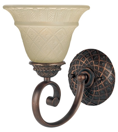 "Brighton Collection 1-Light 7"" Oil Rubbed Bronze Wall Sconce with Embossed Vanilla Glass 11181EVOI"