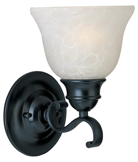 "Linda Collection 1-Light 6"" Black Wall Sconce with Ice Glass 11807ICBK"