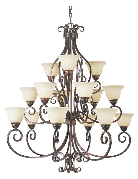 Fifteen Light Oil Rubbed Bronze Frosted Ivory Glass Up Chandelier