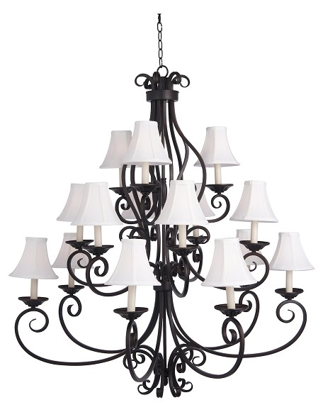 "Manor Collection 15-Light 47"" Oil Rubbed Bronze Foyer Chandelier with Fabric Shades 12219OI/SHD123"