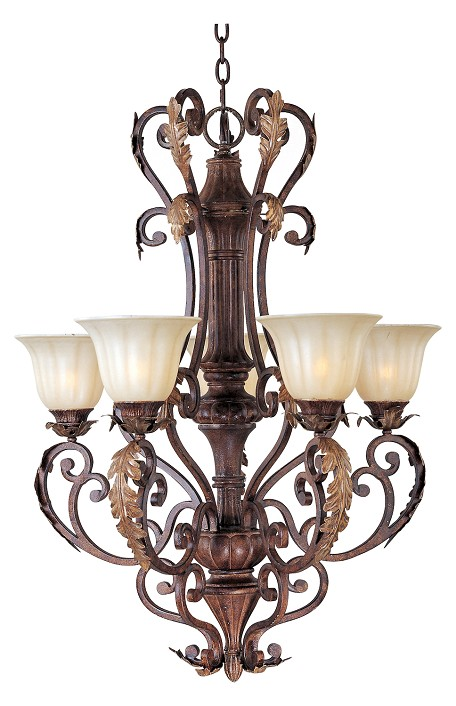 "Augusta Collection 5-Light 35"" Auburn Florentine Chandelier with Cafe Glass 13565CFAF"