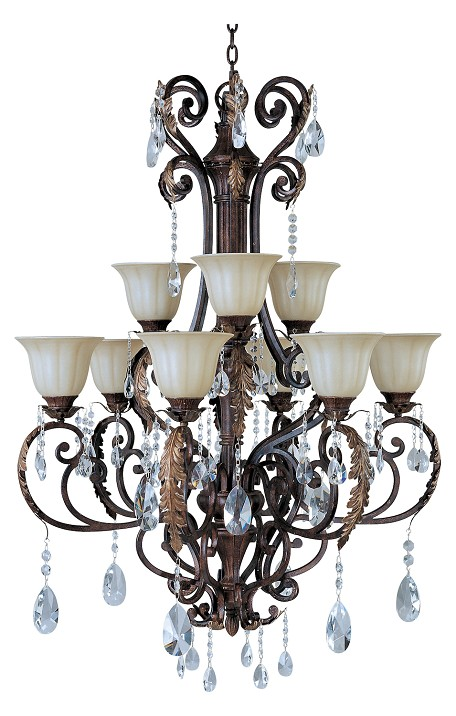 Nine Light Cafe Glass Auburn Florentine Up Chandelier